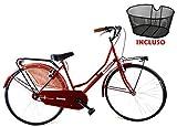 """Bicicletta 26″ Donna/Uomo Albatros """"Olanda"""" Senza Cambio in Acciaio + Cestino Anteriore/Colore Rosso"""