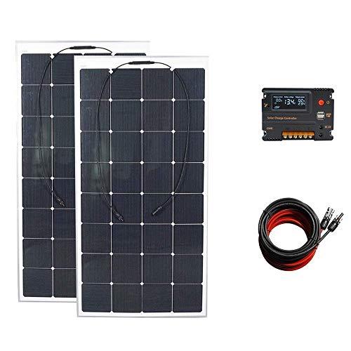Ecoworthy 300W flexibles Solarpanel-System mit 2 x 160W beweglichen Solarpanel, 20A LCD Intelligente Steuerung, 5m Solarkabel Ladegerät für 12V Batterie Off-Gitter/Backup Solarstromsysteme Wohnwagen