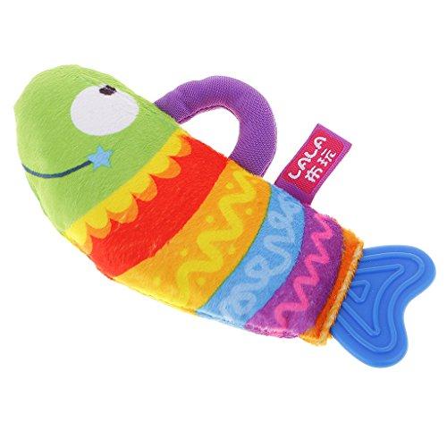 MagiDeal Märchen Kuscheltier Plüschtier Stofftier Schmusetier Rassel für Baby Kinder - Regenbogen Fisch