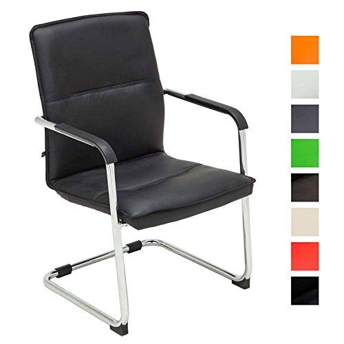 CLP Freischwinger-Stuhl mit Armlehne SEATTLE, Besucherstuhl, Konferenzstuhl gepolstert schwarz
