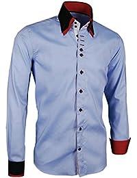 339997dc144b Giorgio Capone Premium Design Herrenhemd, blau - schwarz - rote Akzenten an  Kragen und Manschetten, Langarm, Button-Down…
