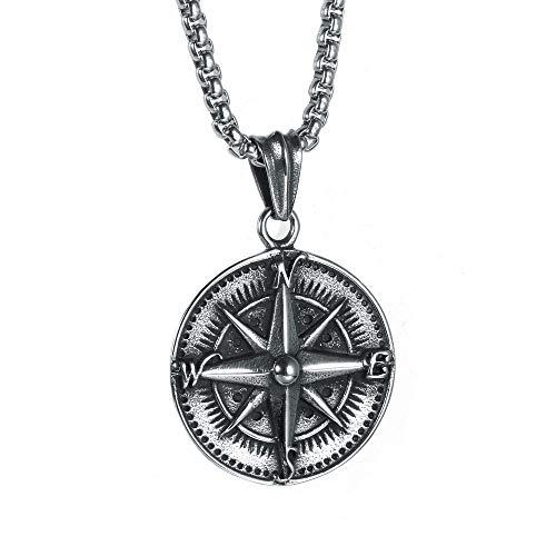 PAURO Herren Halskette Edelstahl Vintage Runden Kompass Anhänger Punk Silber Schwarz mit Kette