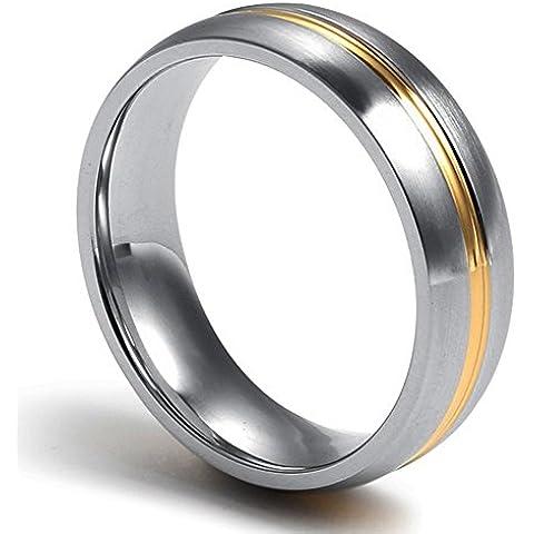 In acciaio INOX-Anello nuziale a fascia da uomo e da donna, medio, placcato oro 18 k, larghezza 6 mm