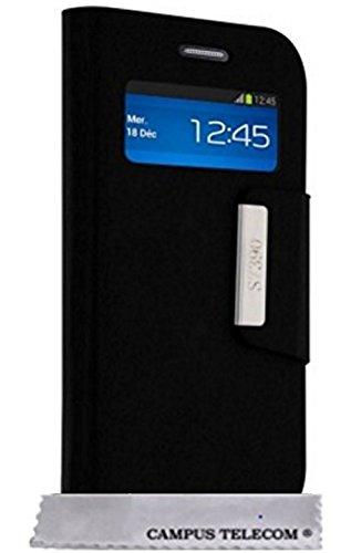 Etui Housse Luxe Fenêtre Noir Samsung Galaxy Trend 2 Lite SM-G318H By D&C®