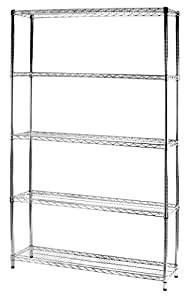 ARCHIMEDE Sistema Componibile Scaffale Cinque Ripiani, Metallo, Cromato, 121.00x36.0x200.00 cm