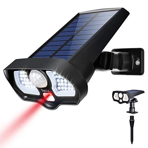 Sunix LED Solarleuchte Außenleuchte 42 LEDs mit 2 roten LEDs Solarleuchte mit Bewegungsmelder wasserdicht IP65, 180°LED Solar, für Garten, Reise, Strand und Hortile