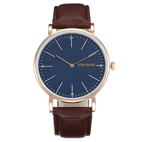 SHE.White Retro Design Uhr für Damen Einfach Mode Uhr Analogem Quarz Damenuhr mit Leder Uhrenarmband Rund Armbanduhren - Militär Uhr Seiko Herren