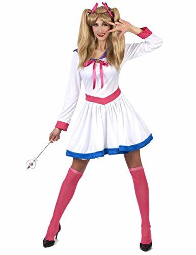 Comic-Heldin-Damenkostüm Mangakostüm weiss-pink-blau Einheitsgröße
