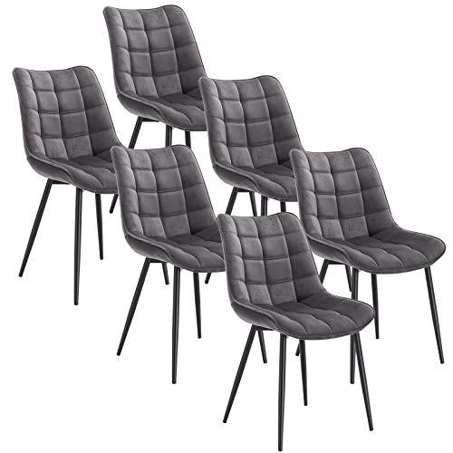 WOLTU 6 x Esszimmerstühle 6er Set Esszimmerstuhl Küchenstuhl Polsterstuhl Design Stuhl mit Rückenlehne, mit Sitzfläche aus Samt, Gestell aus Metall, Dunkelgrau, BH142dgr-6