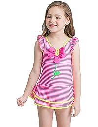 ACVIP Enfant Fille Robe Maillot de Bain Rayure Fleur Swimwear Beachwear Eté