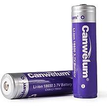 Canwelum - Batterie 18650 Li-ion Protégée, Pile 18650 Rechargeable 3.7V, Accu 18650 Protégé - Applicable pour la Lampe Torche ou Lampe Frontale LED, pas pour E-Cigarette (2 x Accus)