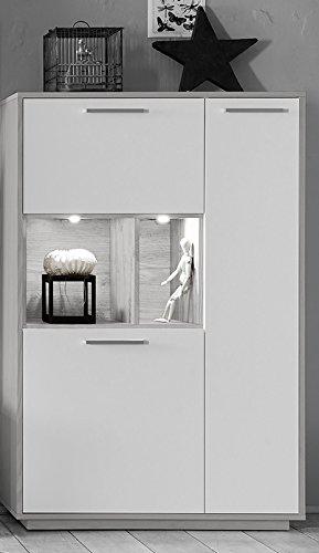 AVANTI TRENDSTORE - Verri - Wohnwand in Silbereiche / weiß matt Dekor mit LED Beleuchtung inklusive, ca. 299x200x45 cm - 4