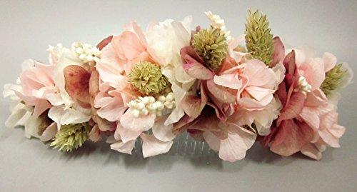 Peineta de hortensias rosas y espigas