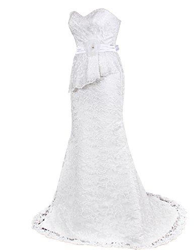 Dressystar Robe de mariée Longue, à Col en Cœur, à fleur, Sirène,en dentelle Blanc