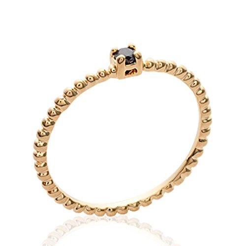 ISADY - Tracie Schwarz Gold - Damen Ring - 18 Karat (750) Gelbgold - Zirkonia - Solitär Vorsteckring Ehering Trauring