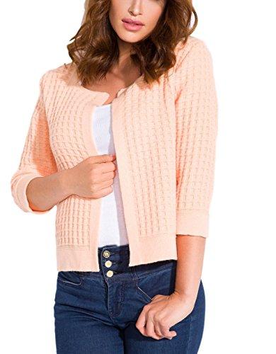 Elegante Damen Blazer mit 3/4-Ärmeln in Frühlingsfarben (Grau, Rosa, Beige, Mint, Schwarz) (XL, Aprikose)