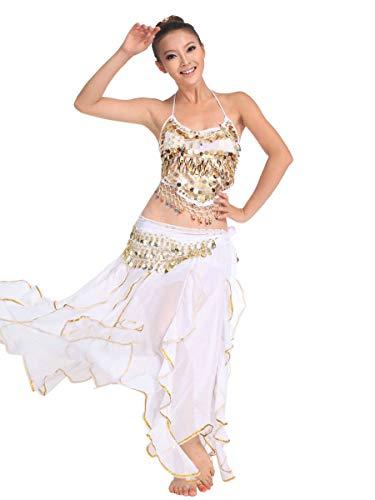 Arabische Kostüm Tänzerin Schwarz - Grouptap Bollywood asiatischen indischen arabischen Jasmin Bauchtanz Kleid Kostüm schwarz/Rosa/weiß 2-teiliges Halfter Top Rock Phantasie sexy Frauen Outfit (Weiß, 150-175 cm, 40-70 kg)