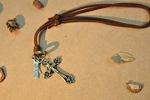 TANMEY Halskette Herren Lange Halskette Leder Verstellbar Anhänger Halskette Braun Schwarz Seil Kette Herrenschmuck (Cross Verstellbare Leder Halskette)