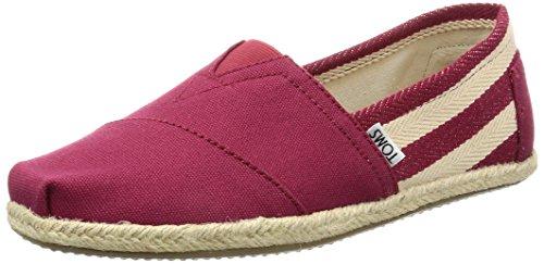 TOMS Herren Stripe University Classics Alpargata Niedrige Espadrilles, Rot (Red Stripe University), 44 EU - Männer Schuhe Tom Rot
