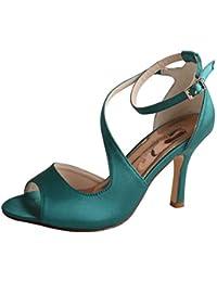 SERAPH WDF7050 Mujer zapatos de tacón punta peep Rhinestones raso fiesta zapatos de novia