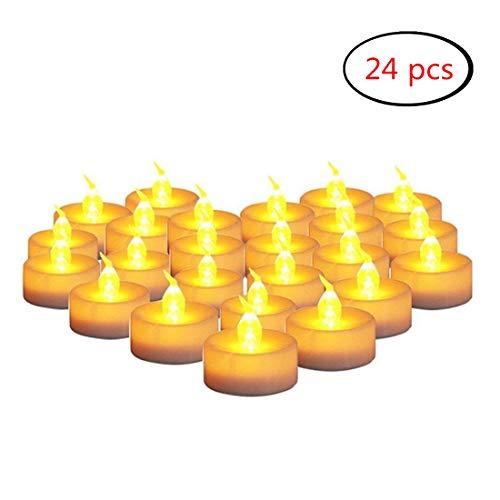 LED Luz Vela del Té Sin Llama, 24 Piezas Pequeñas Velas Parpadeantes Brillantes con la Batería para el Partido, Festivales, Bodas, Halloween, Decoración de Navidad (Amarillo ámbar)