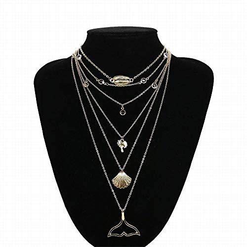Ofliery Frauen-Boho-Retroklageeinzelteil personifizierte mehrschichtige Halskette der Art und Weiselegierungsoberteil (Color : Golden)