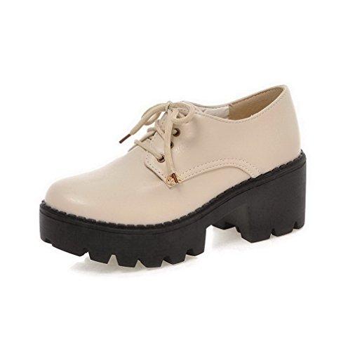 VogueZone009 Damen Weiches Material Schnüren Rund Zehe Eingelegt Pumps Schuhe Cremefarben