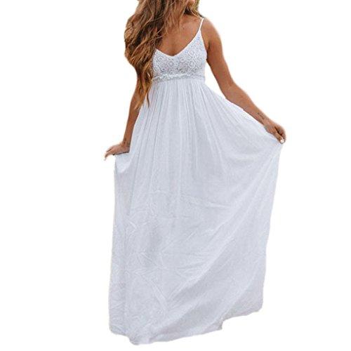 Resplend Frauen Spitze Camisole Langes Kleid Ärmelloses Chiffon-Kleider Rückenfrei Strandkleid Off Shoulder V-Ausschnitt Dress (Weiß, XL) -