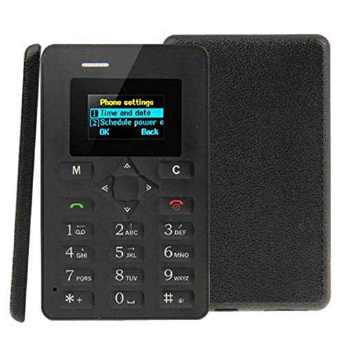 MobSpy M5 Card Phone Mini Card-Sized GSM Mobile Phone Ultra Thin Feather Light Cell Phone with Bluetooth, Camera, FM & Low Radiation Technology - Black (Assorted)