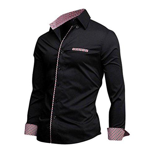 Jeansian Hommes Chemise Manches Longues Uniforme Mens Casual Slim Shirt 8599 Black