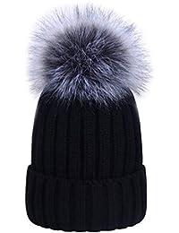 Amazon.es  gorros de lana con pompon de pelo - Sombreros y gorras ... 882d9da6f3c