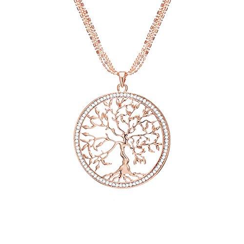 Mianova Damen Halskette Kette Lebensbaum Anhänger mit Swarovski Elements Strass Kristall Steinen - Mama Halskette Medaillon