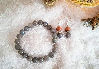 parure bracelet labradorite, bracelet protection, bracelet pierres naturelles, boucles labardorite, set cadeau, cadeau Noël, ensemble bijoux