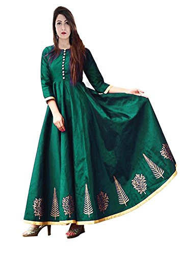 Vaankosh Fashion Women's Embroidered Silk Cotton New Collection Kurti (Green)