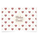 15 schöne Dankeskarten (Herzchen Vintage) mit 15 Umschlägen im Set - Danksagungskarten, Danke sagen nach Hochzeit, Geburt, Baby, Taufe, Geburtstag