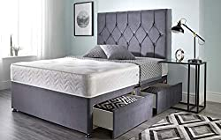 Bed Centre Ziggy Grey Plush Memory Foam Divan Bed Set With Mattress, 2 Drawers (Same Side) and Headboard (Double (135cm X 190cm))