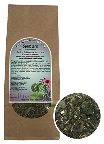 Té Herbal Sedum Mezcla - Espino, equinácea, hojas de almendra y epilobio - Té de hierbas sabroso y natural para la sauna - Té refrescante y relajante - Recogido a mano en la UE - 50g