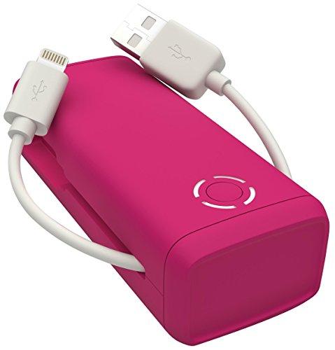 Kit FRESH 3,000 mAh Tragbarer Externer Akku Powerbank mit Integriertem Lightning-Ladekabel MFI Qualität [von Apple zertifiziert] - Pink