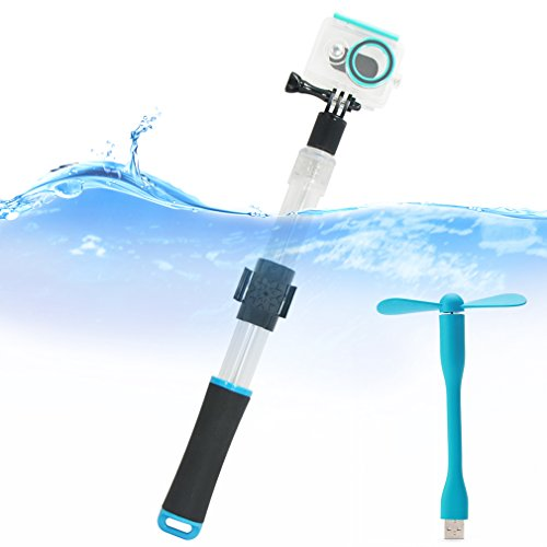 First2savvv azul Transparente Material del flotador extensión flotante Extensible selfie Polo Monopod con el clip de montaje remoto para GoPro Hero 4 5 6. Hero 3+.Hero4 Session.Hero3. Hero 2. Hero 1.Xiaomi Yi. SJCAM SJ5000. SJ4000 - GO-GAN-C03UFS + ventilador USB