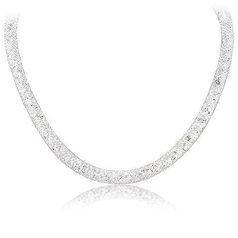 Mytysun Mesh Crystal Silver Choker Necklace Chain Bracelet 18k Gold