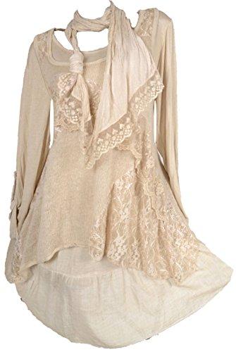 Damen Winter Mohair Twinset 3tlg Lagenlook Tunika Kleid Strickkleid Unterkleid Schal Spitze Wolle 40 42 44 46 M L Creme (40)