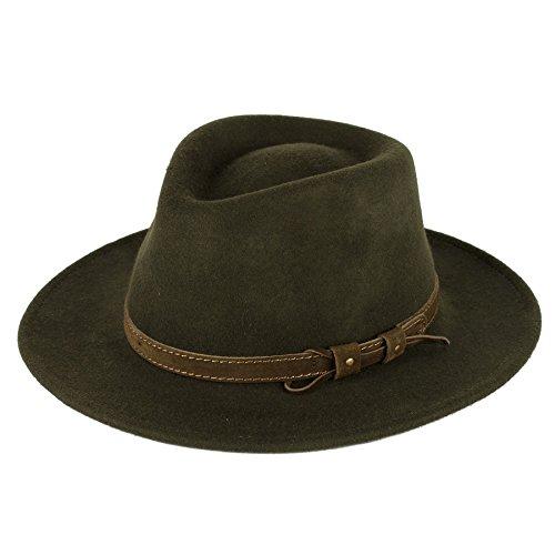 Hat To Socks Chapeau en Feutre Fedora Laine avec Ceinture en Cuir étanche et broyable Fait la Main en Italie