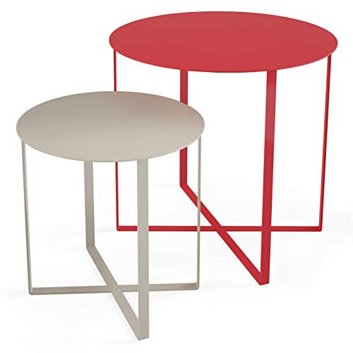 KAUTSCH 2er Beistelltisch Set aus Metall für Sofa Balkon Terrasse Grill Pflanzen, Coral, grau, Couchtisch modern rund, Outdoor Tisch (Coral Tisch)
