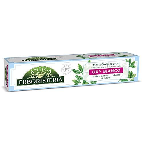 Antica erboristeria, dentifricio sbiancante oxy bianco antimacchia con ingredienti naturali, gusto menta ossigeno attivo, 1 x 75 ml