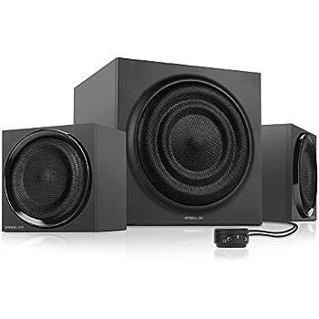 Speedlink Majesty aktives 2.1 Lautsprechersystem (45 Watt RMS Gesamtleistung, 90 Watt Peak Power, Tischfernbedienung, Holzgehäuse) schwarz