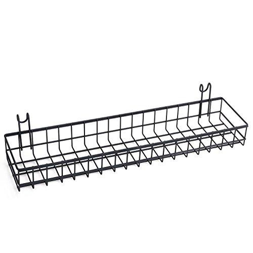 kufox Gerade Ablage für Grid Panel Display, stabilem Draht Organizer Bin Aufbewahrung Wand Wandhalter Montieren Basket Black S (Grid-display-panels)