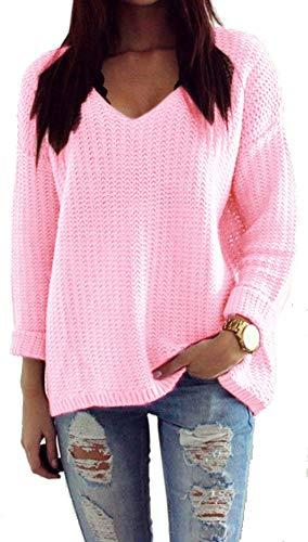 Mikos*Damen Pullover Winter Casual Long Sleeve Loose Strick Pullover Sweater Top Outwear (627) *Hergestellt in der EU - Kein Asienimport* (Hellrosa)