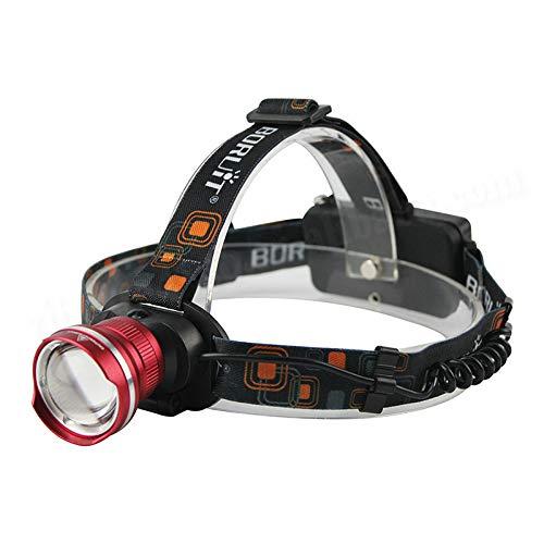 Glare T6 Scheinwerfer mit Fischauge, zum Laden von Angeln, Jagd, Taschenlampe, 2190 Schwarz + direktes Aufladen + USB Smile Face + 2 x 1500 Kapazität + Lithium-Batterie