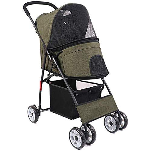 CWTC Pet Kinderwagen for kleine Hunde/Katzen, leicht zu falten, mit großem Speicher-Korb (Color : Green) -