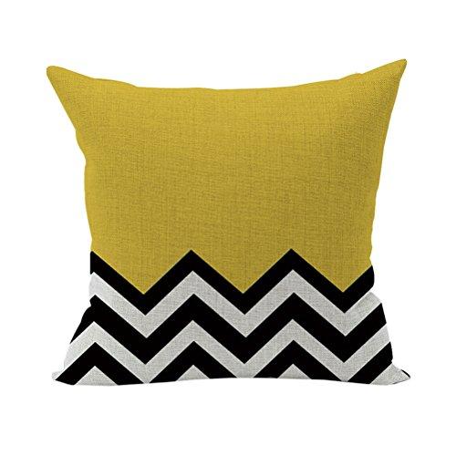 Nunubee Geometrische Muster Kissenbezug Dekokissen Haus Dekoration weich Quadrat Sofa Kissen Stil 5 Gelb - Gelbe Quadrat Kissen